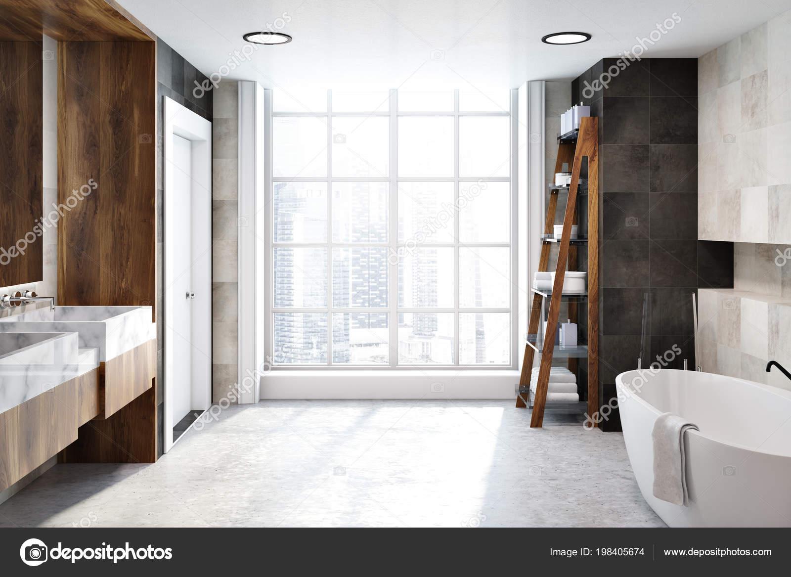 Witte Tegels Badkamer : Witte tegels badkamer interieur met een betonnen vloer een grote