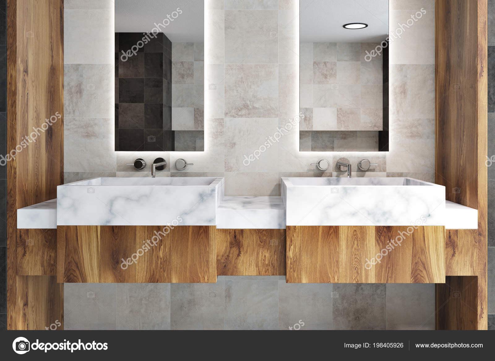 Double Bathroom Sink Two Narrow Tall Framed Mirrors Hanging Classic