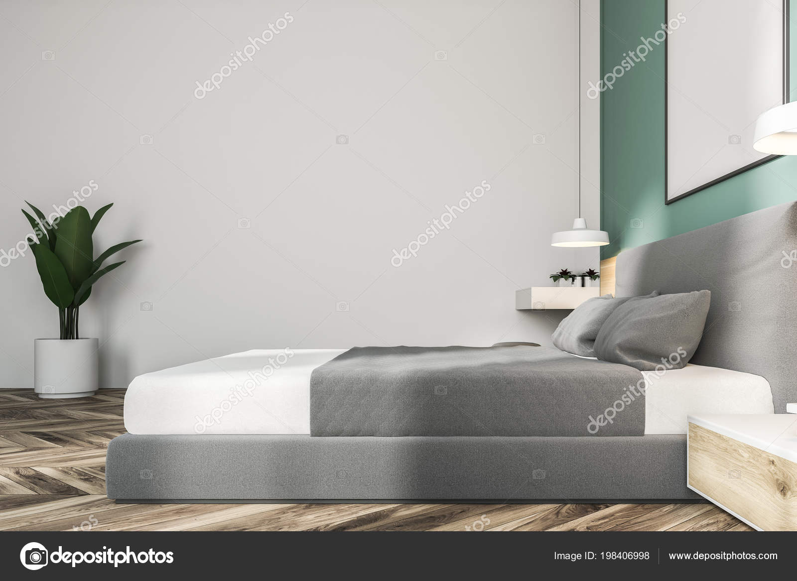 Witte Groene Slaapkamer Interieur Met Een Houten Vloer Een King ...