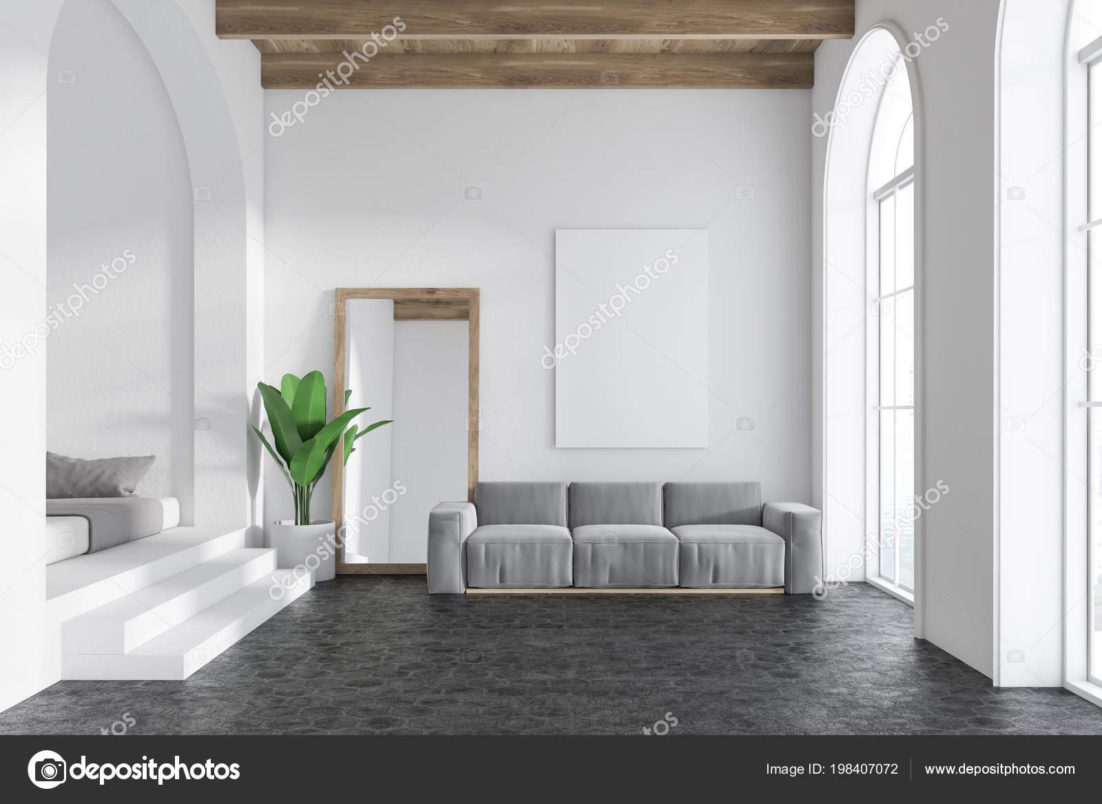 Graue Sofa Wohnzimmer Innenraum Mit Weißen Wänden Rundbogenfenster ...