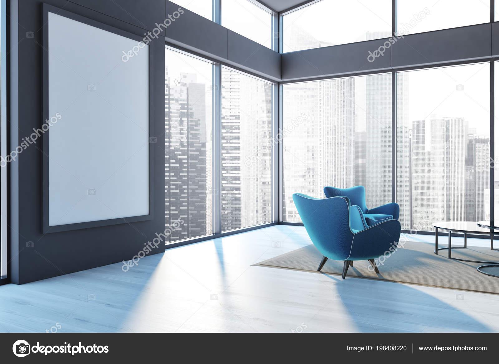 Penthouse Living Room Corner Wooden Floor Blue Armchair Frame ...