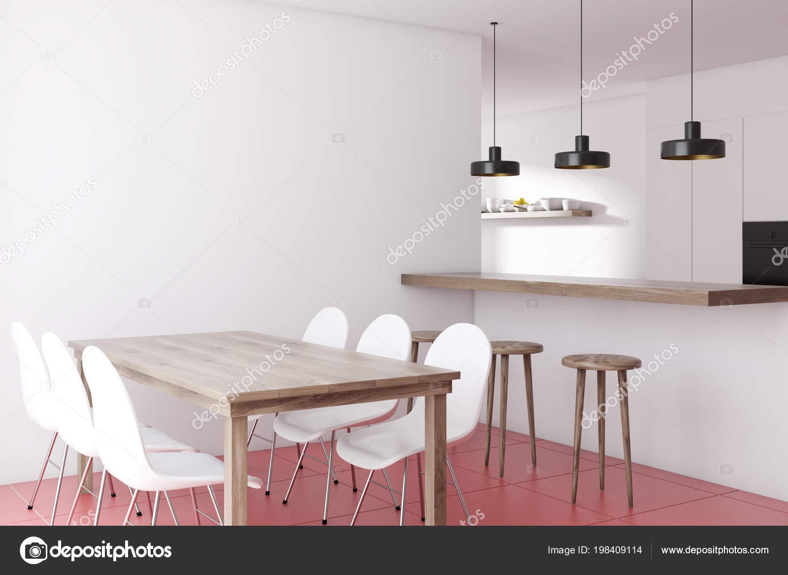Modern Dining Room Corner White Walls Red Tiled Floor Wooden Stock Photo C Denisismagilov 198409114