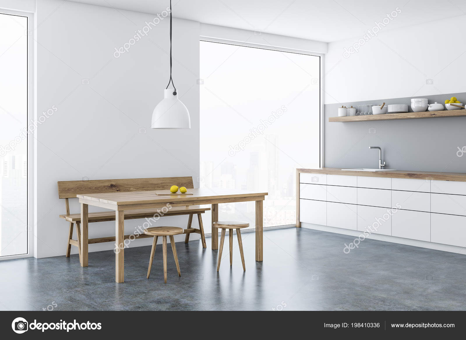 белой столовой кухонный уголок окнами деревянный стол стулья
