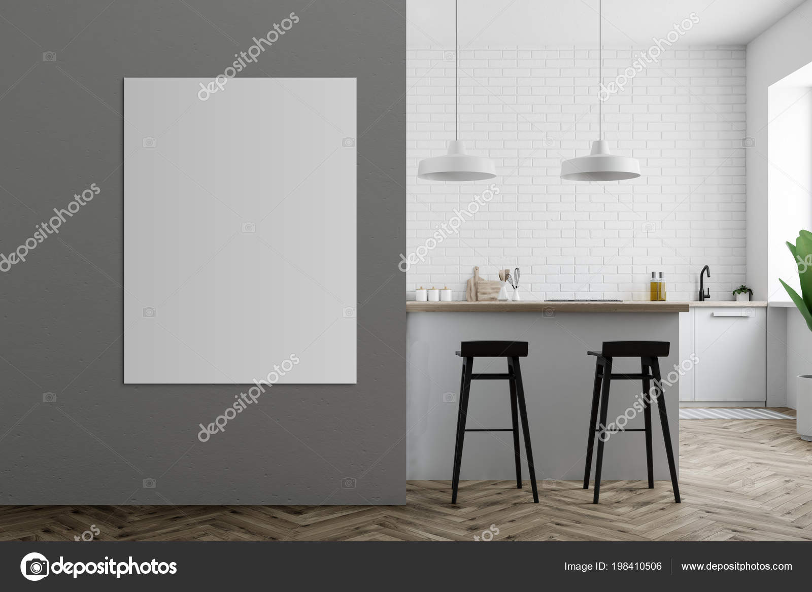Interiore della cucina grigio con ripiani bianchi bar con sgabelli