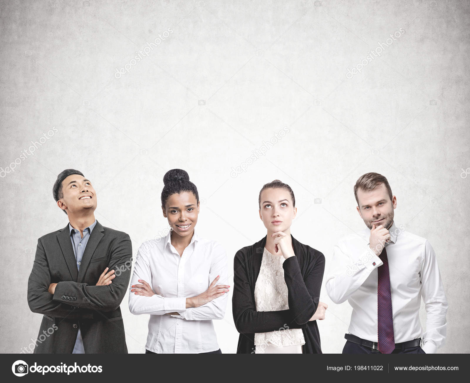 Diverse Business Team Members Standing Row Concrete Wall