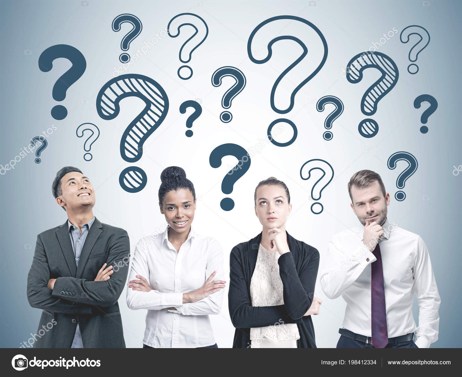 Diverse Business Team Members Standing Row Many Blue Question Marks