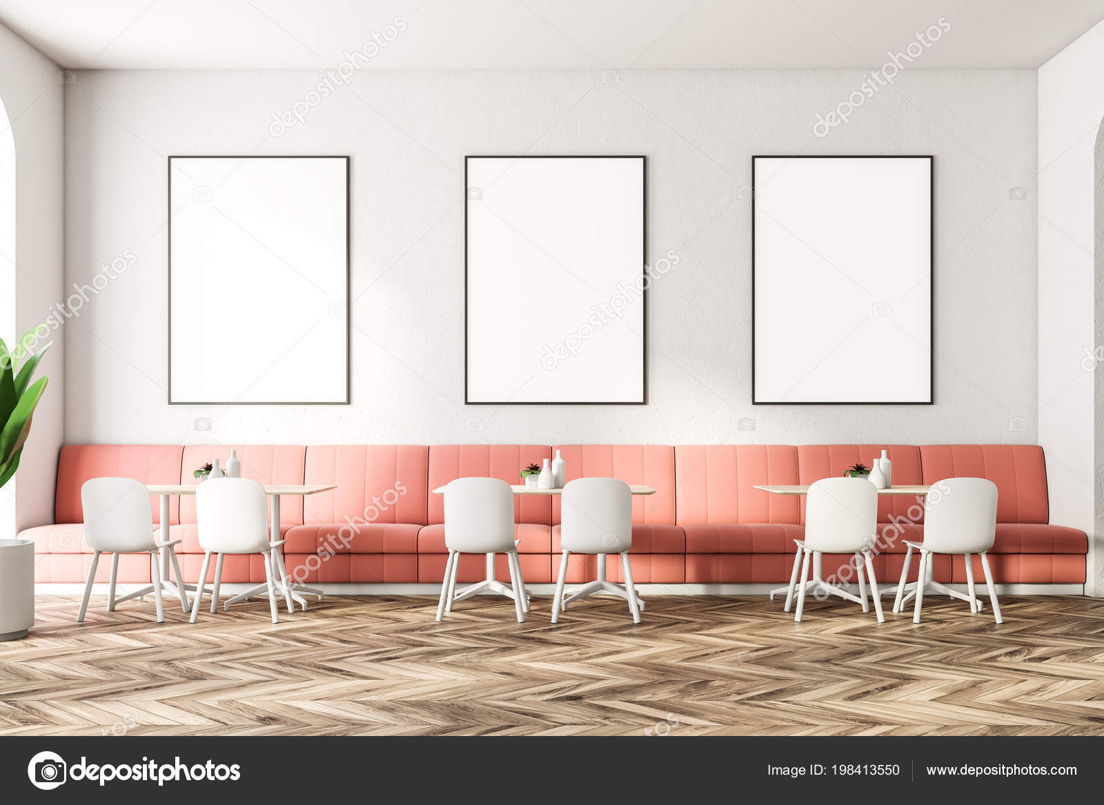 Pleasant Poster Gallery Modern Restaurant Interior Pink Sofas White Dailytribune Chair Design For Home Dailytribuneorg