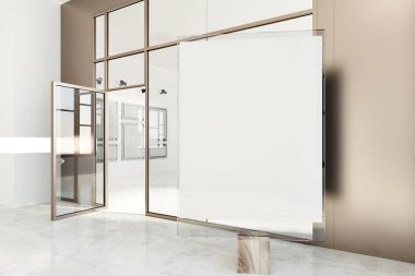 Poster gallery with beige and white walls, a concrete floor and glass doors. A vertical mock up poster in the foreground. A side view. 3d rendering