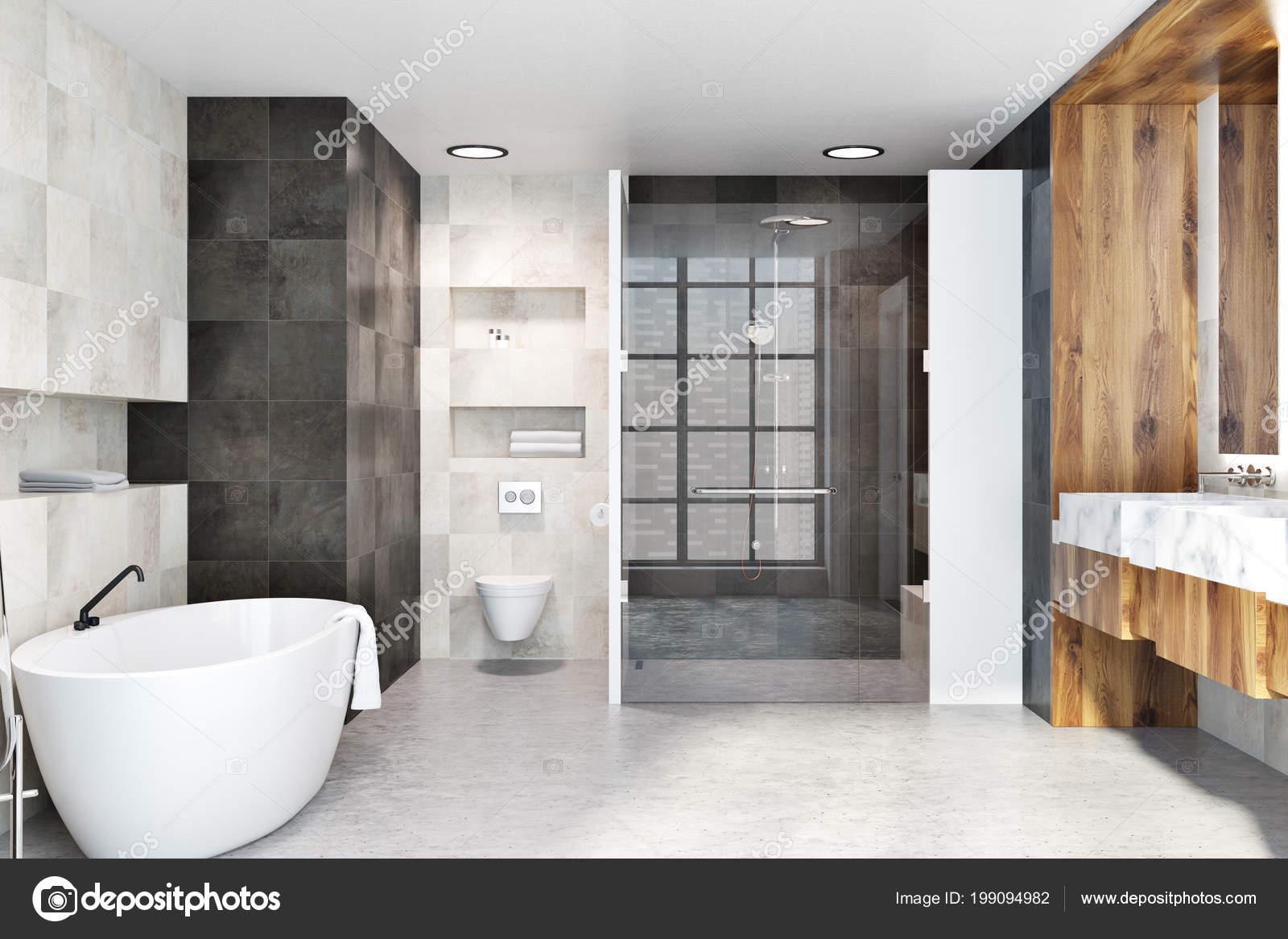 Klassische Badezimmer Einrichtung Mit Weißen Und Schwarzen Fliesen ...
