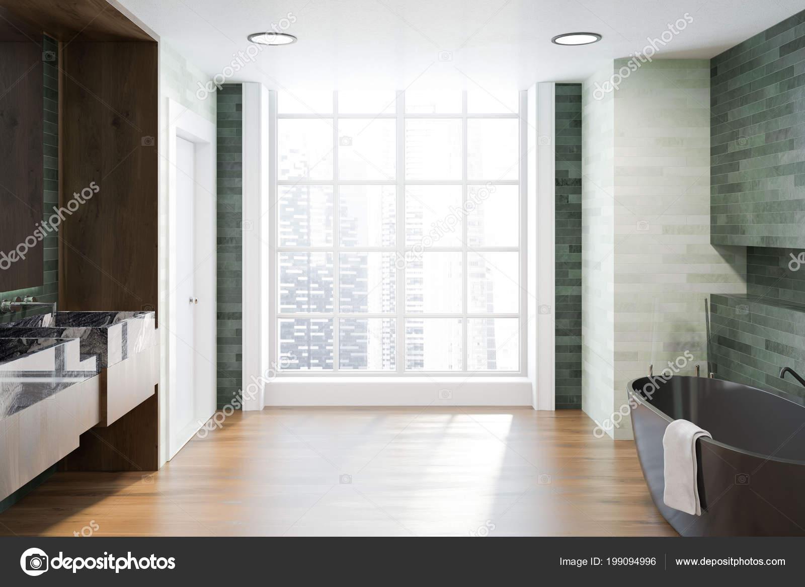 Intérieur Salle Bain Luxe Avec Des Murs Blancs Émeraudes Plancher ...