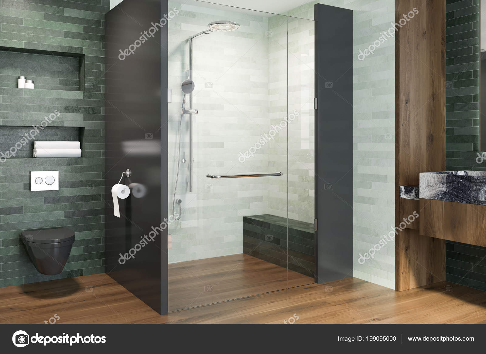 Luxury Bathroom Interior Emerald White Walls Wooden Floor Black Toilet — Stock Photo