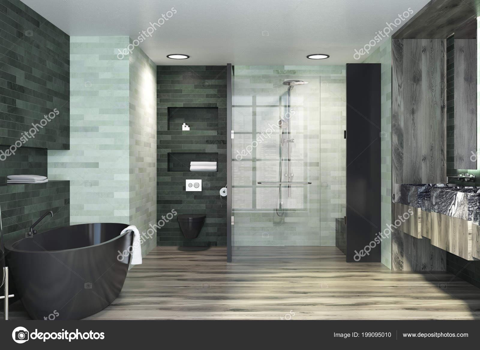 Luxus Badezimmer Interieur Mit Smaragd Und Weiße Wände Einen ...