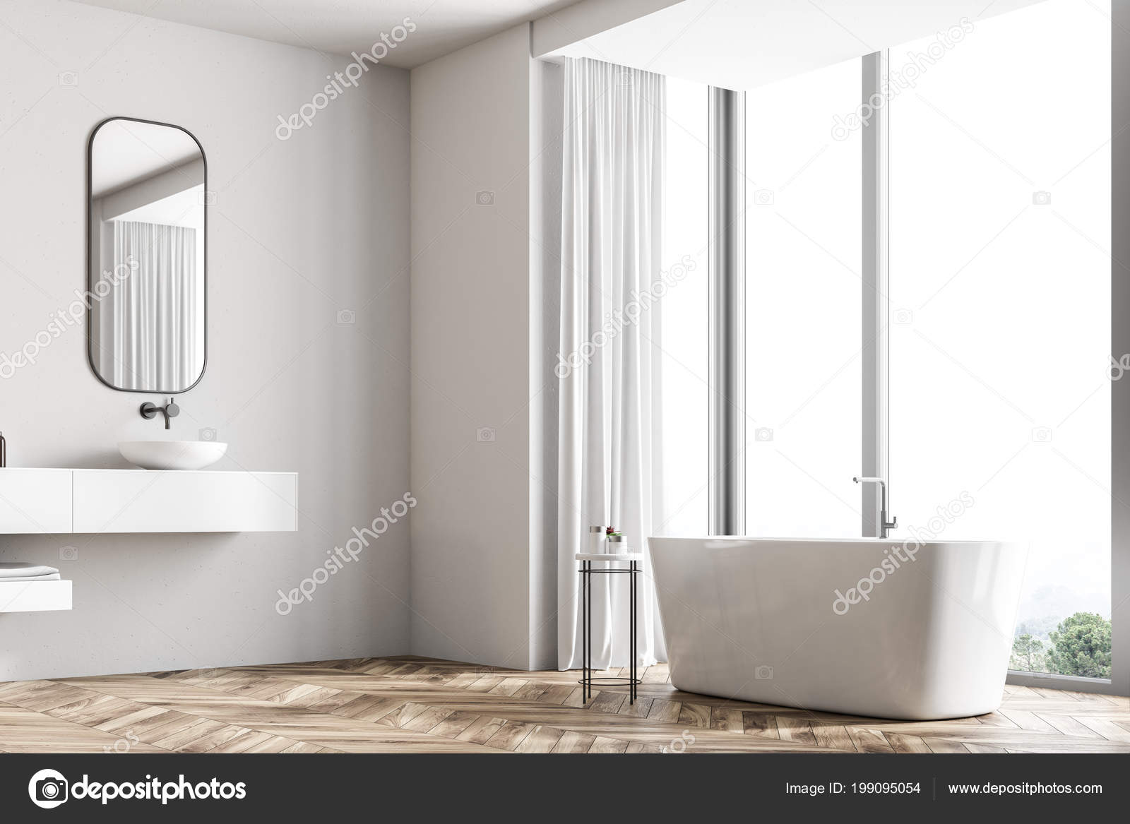 Holzfußboden Bad ~ Bad ecke mit einem holzfußboden ein panoramafenster mit blick auf