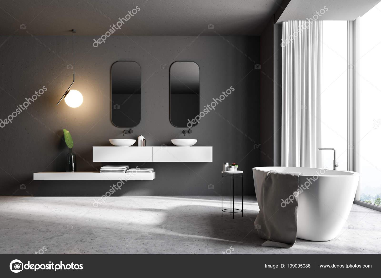 Badezimmer Einrichtung Mit Marmorboden Ein Panoramafenster Mit Blick ...
