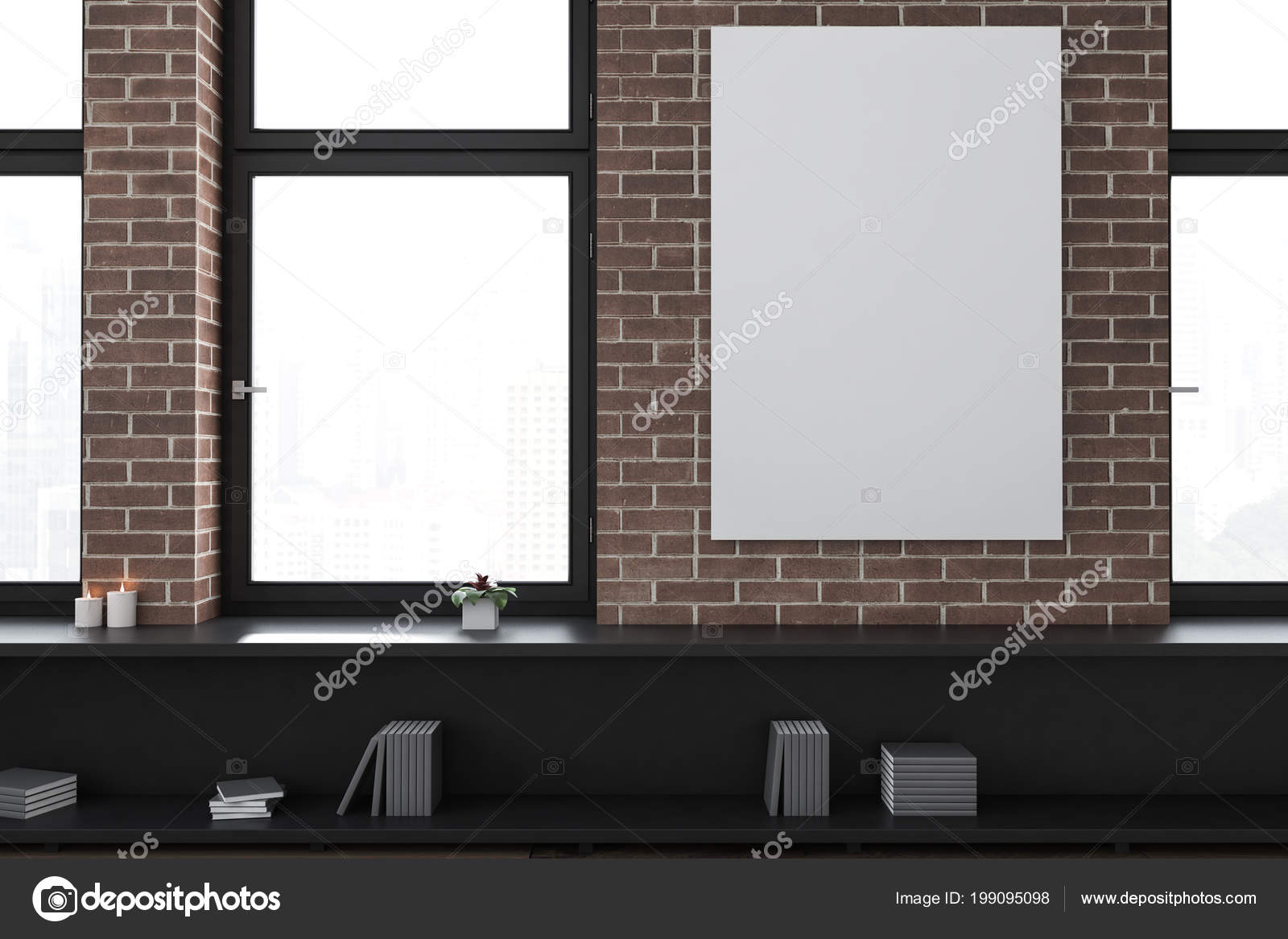 Brick Empty Office Living Room Interior Loft Windows Black