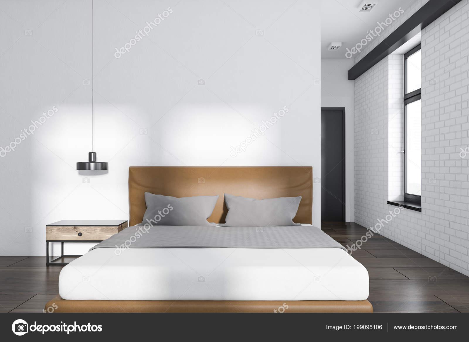 Modern Bedroom Interior White White Brick Walls Wooden Floor Double