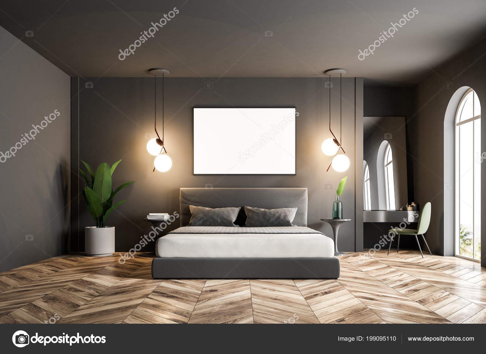 Slaapkamer Interieur Grijs : Moderne slaapkamer interieur met donker grijze muren een houten