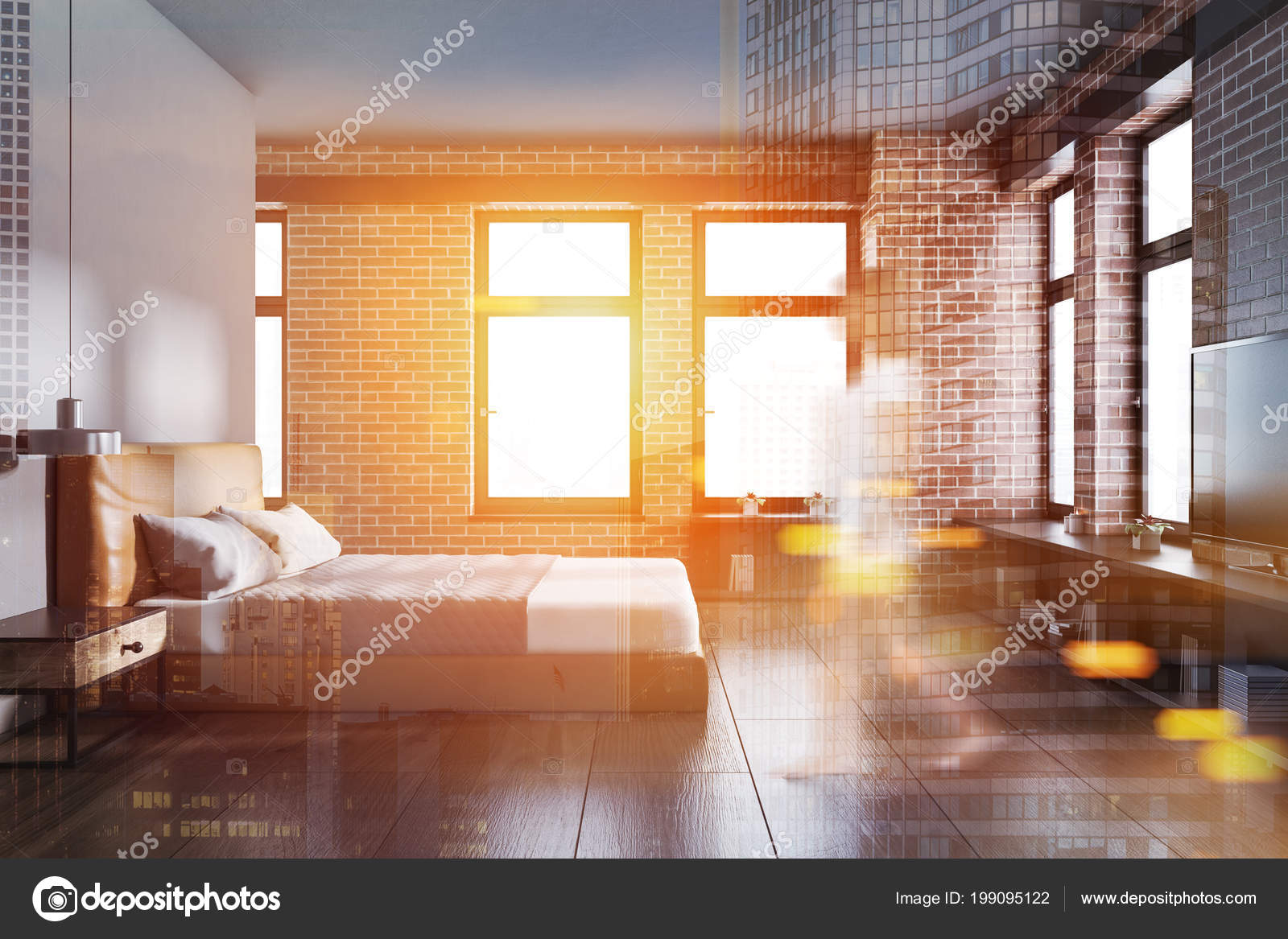 Femme Dans Intérieur Chambre Coucher Avec Des Murs Gris Brique ...
