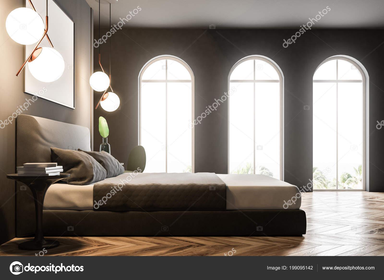 Slaapkamer Interieur Grijs : Zijaanzicht van een slaapkamer interieur met grijze muren een