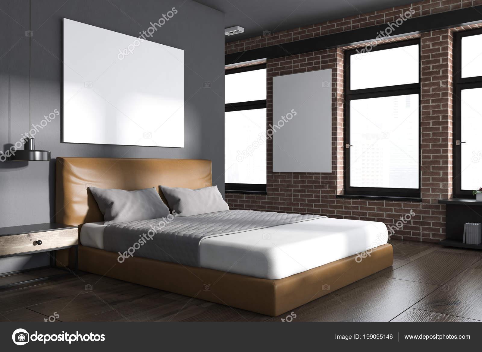 Letto Grigio Scuro : Angolo camera letto moderna con pareti mattone grigio scuro