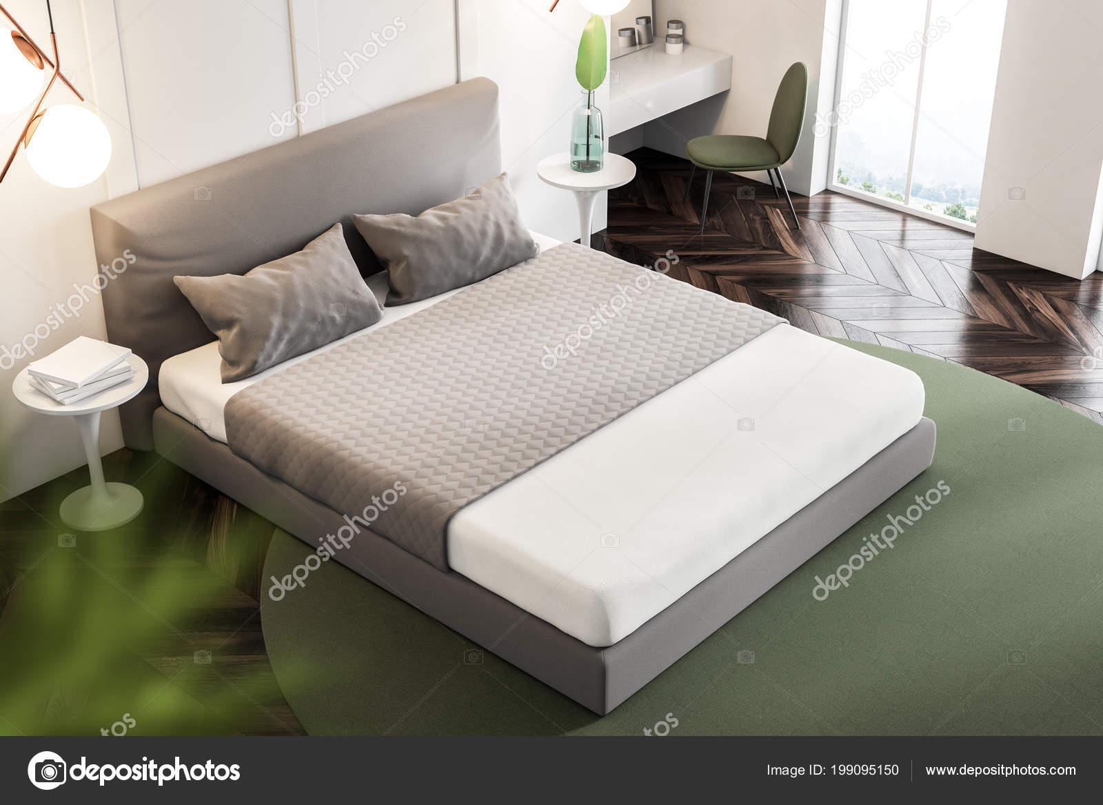Top View Bedroom Interior White Walls Wooden Floor Rug Double Stock Photo C Denisismagilov 199095150