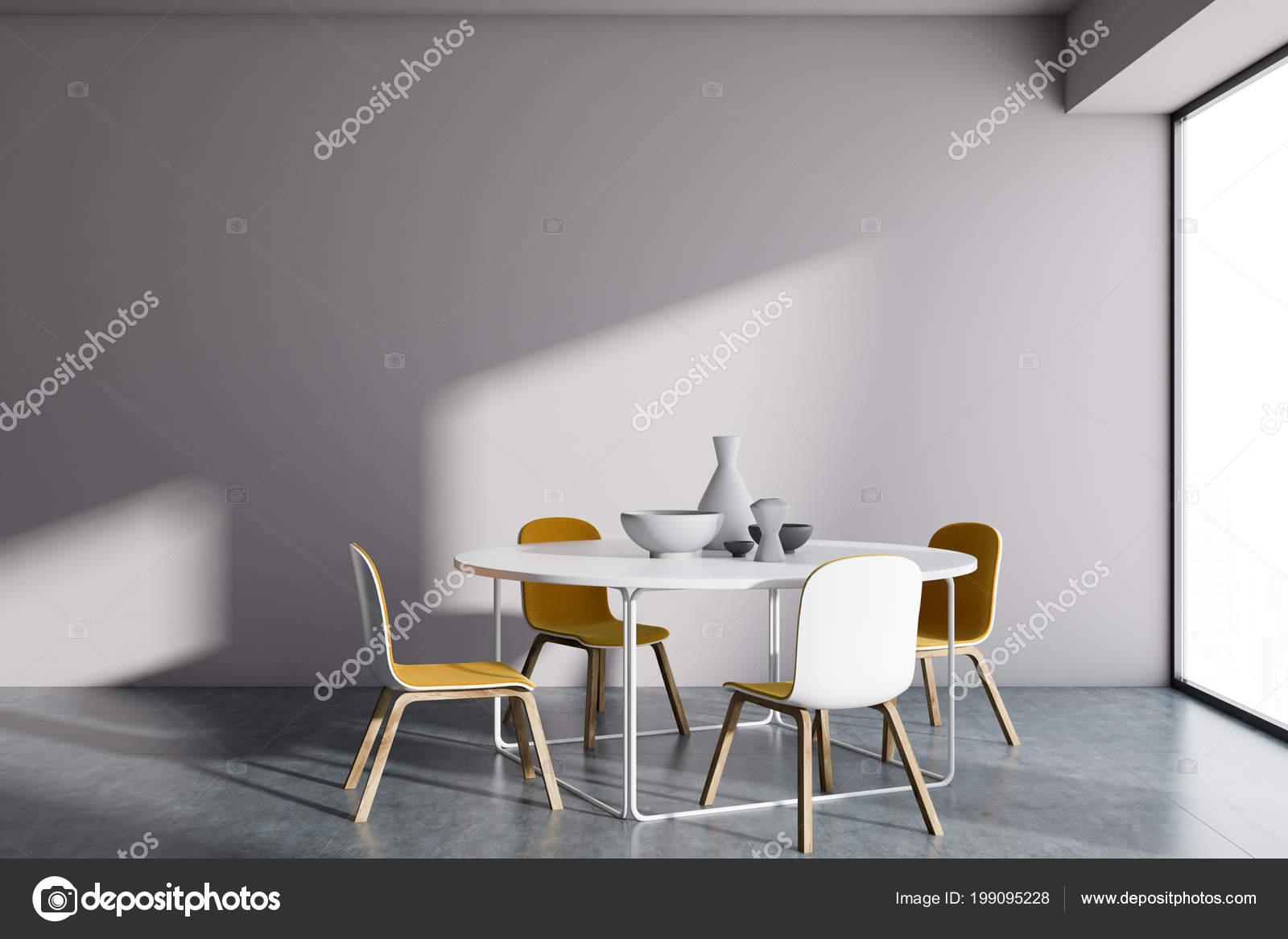 Weiße Wand Minimalistischen Skandinavischen Stil Esszimmer Interieur ...