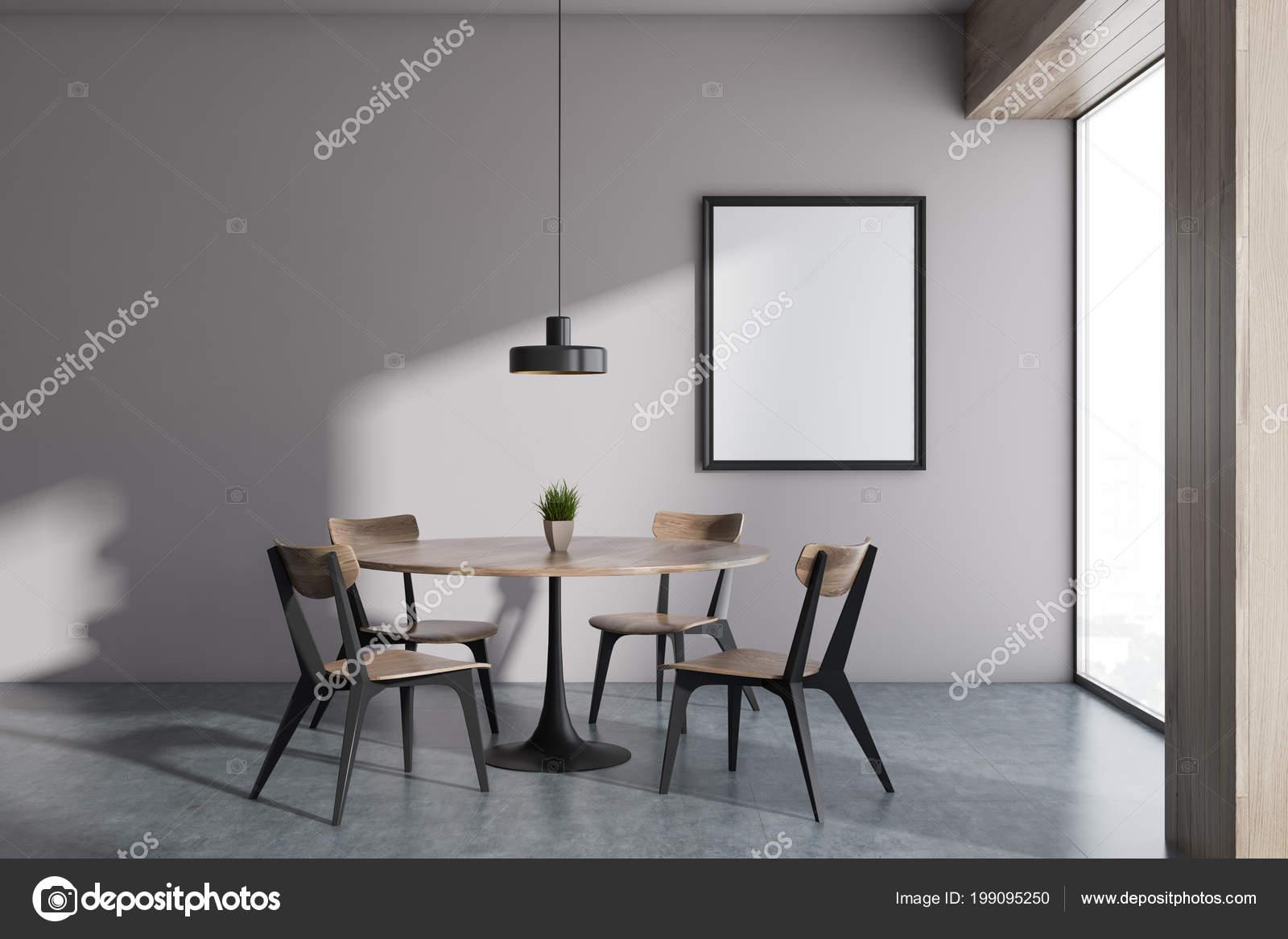 Witte muur interieur van eetkamer van het minimalistische