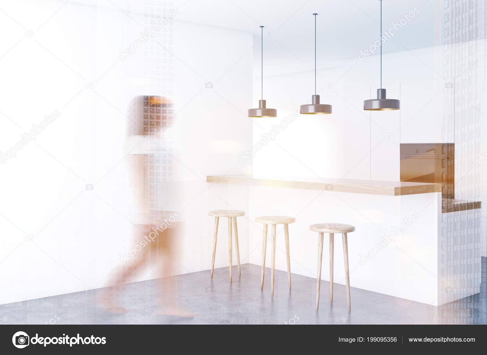 Excellent Kitchen Corner White Walls Concrete Floor White Bar Stools Inzonedesignstudio Interior Chair Design Inzonedesignstudiocom