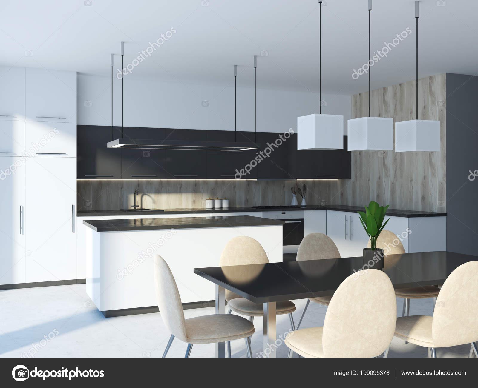 Cucina nera isola trovava vicino controsoffitti bianchi grigi