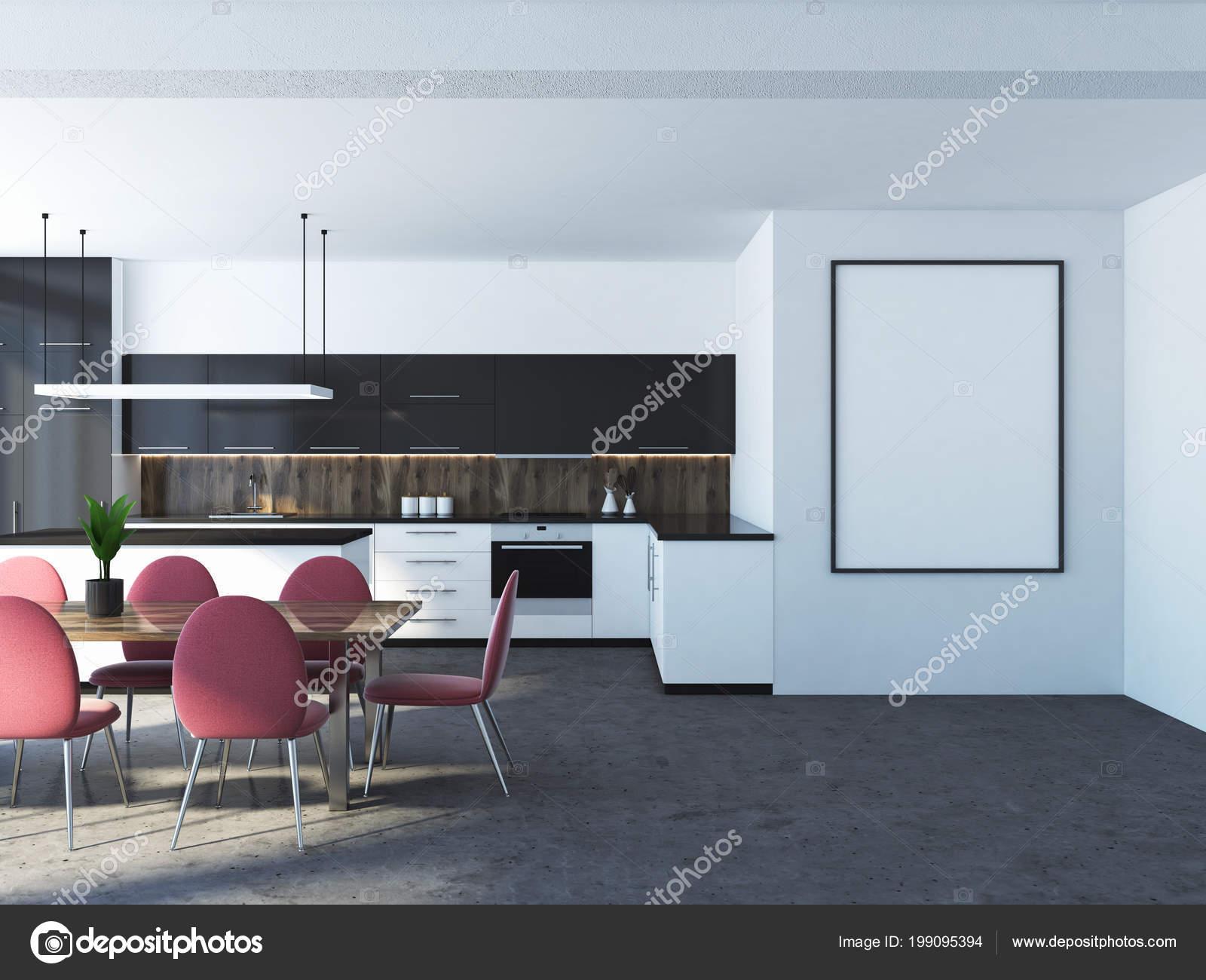 Weiße Küche Interieur Mit Einem Betonboden Schwarze Und Weiße ...