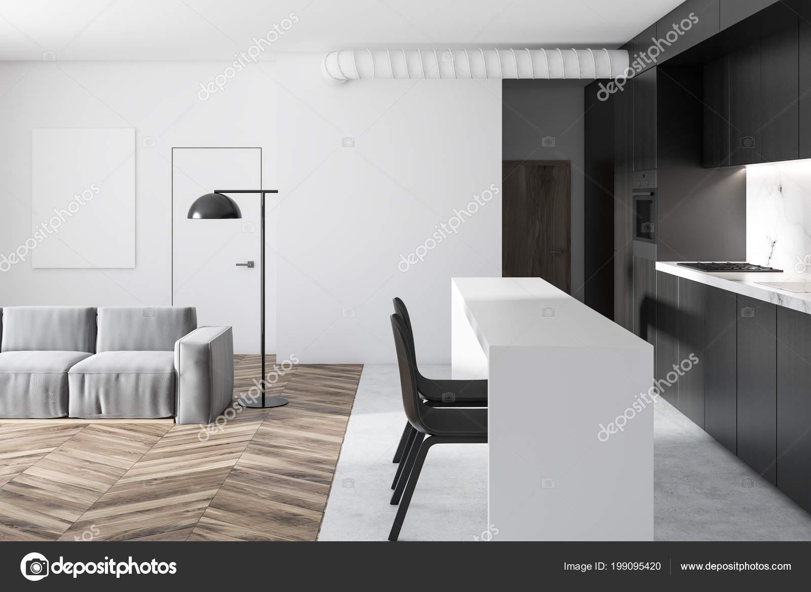 Cucina Bianca Nera Interno Del Salone Monolocale Con Pavimento Legno ...
