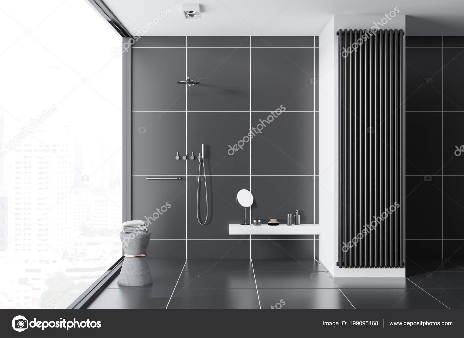 carrelage noir intrieur de salle de bain avec un carrelage noir une fentre panoramique et une douche concept dune maison confortable rendu 3d maquette
