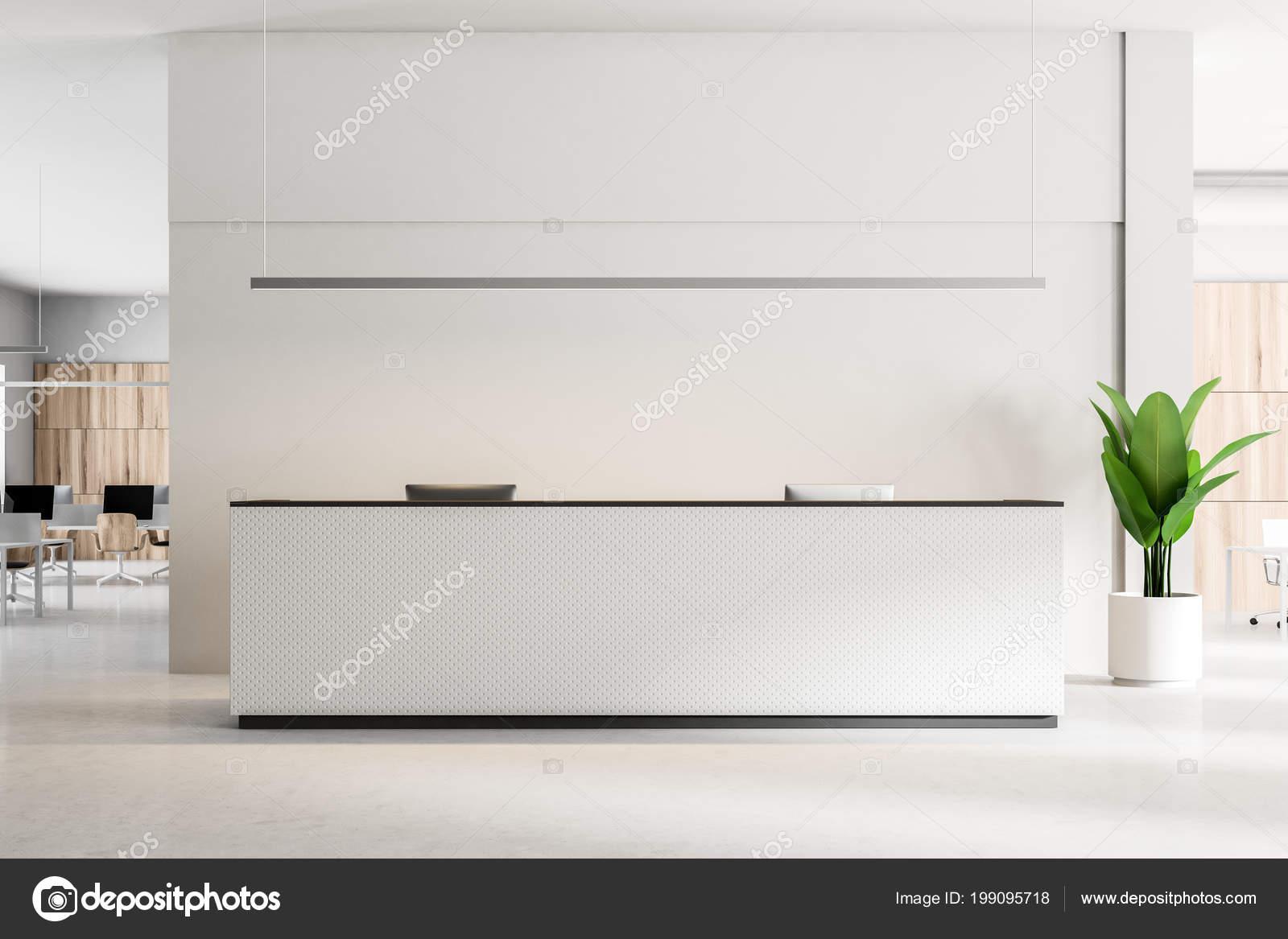 White Reception Desk Computers Standing Concrete Floor ...