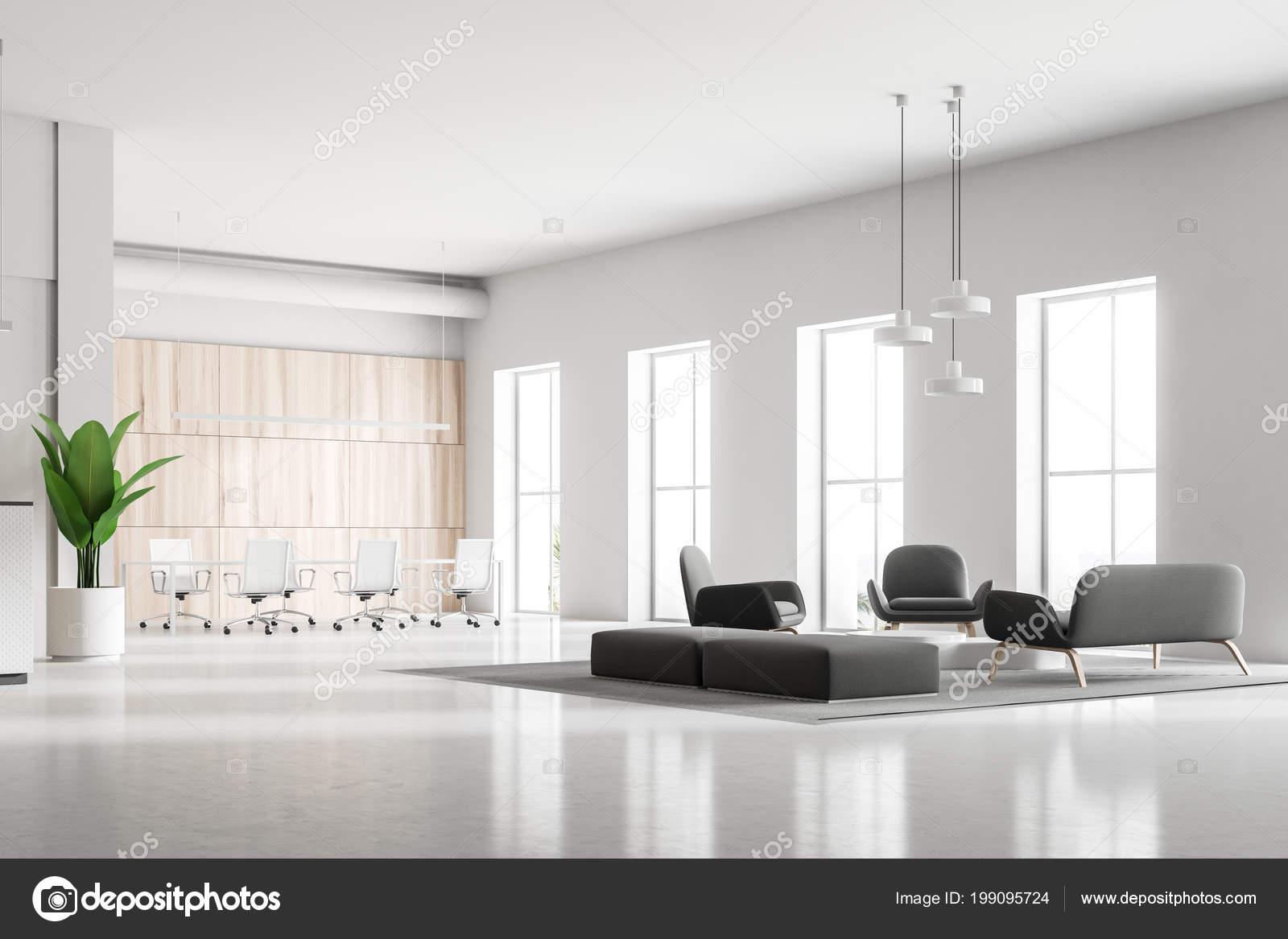 Salle attente avec fauteuils canapés gris douces bureau moderne
