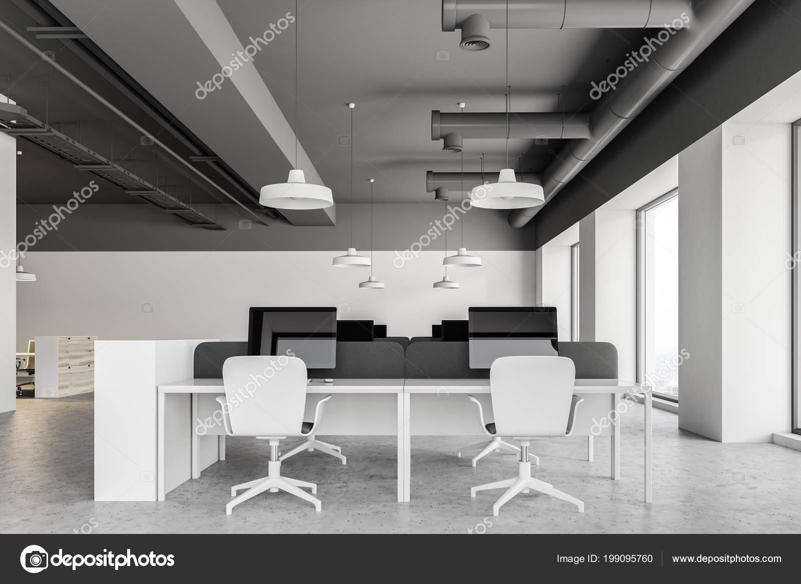Plafond Gris Style Industriel Bureau Intérieur Avec Armoires