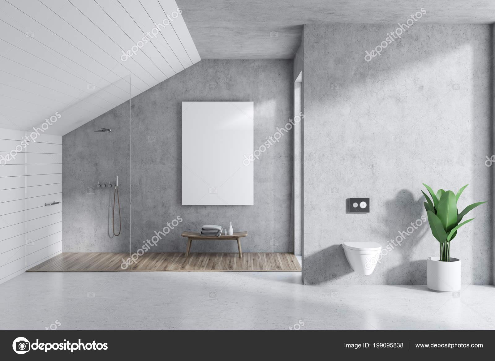 Beau Attic Bathroom Interior Concrete White Walls Concrete Floor Shower Stall U2014  Stock Photo