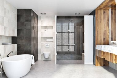 Classic bathroom interior with white and black tiles, a wooden wall, a shower, a bathtub, a double sink and a toilet. 3d rendering