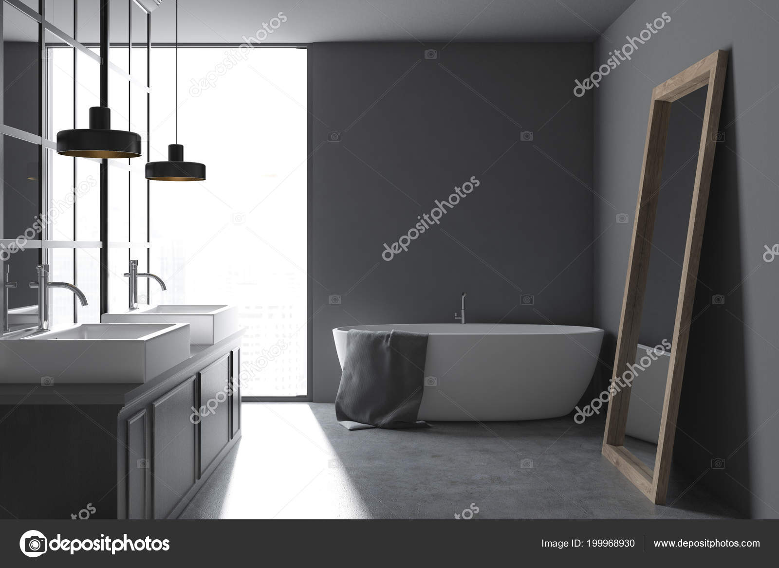 Grijze muur badkamer interieur met een metalen decoratie details