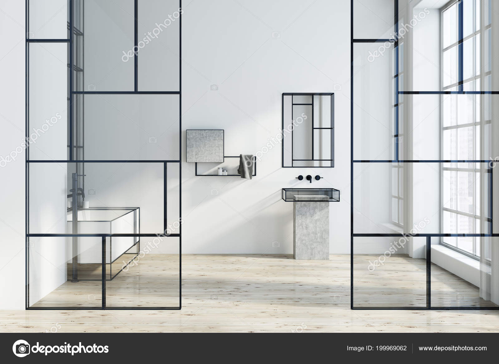 Futuristische Witte Badkamer Interieur Met Een Groot Hoekig Bad ...