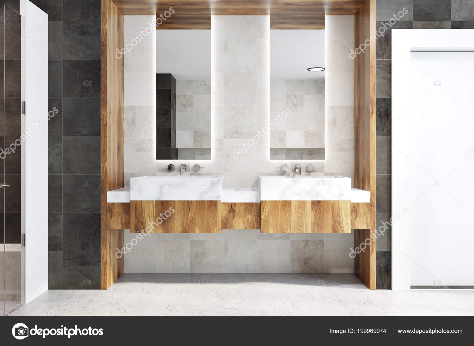 Double Bathroom Sink Two Narrow Tall Framed Mirrors Hanging Classic ...