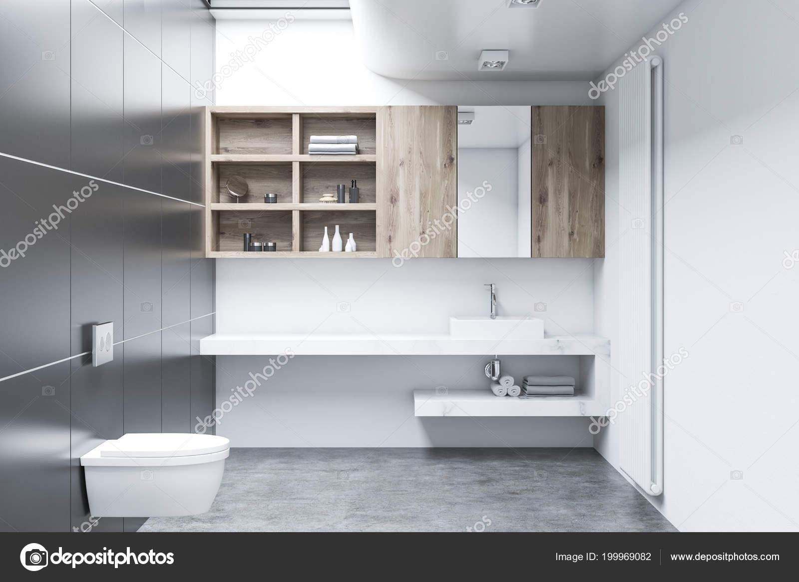 Pavimento Bianco E Grigio : Interni lavabo bianco grigio con pavimento cemento doppio lavabo