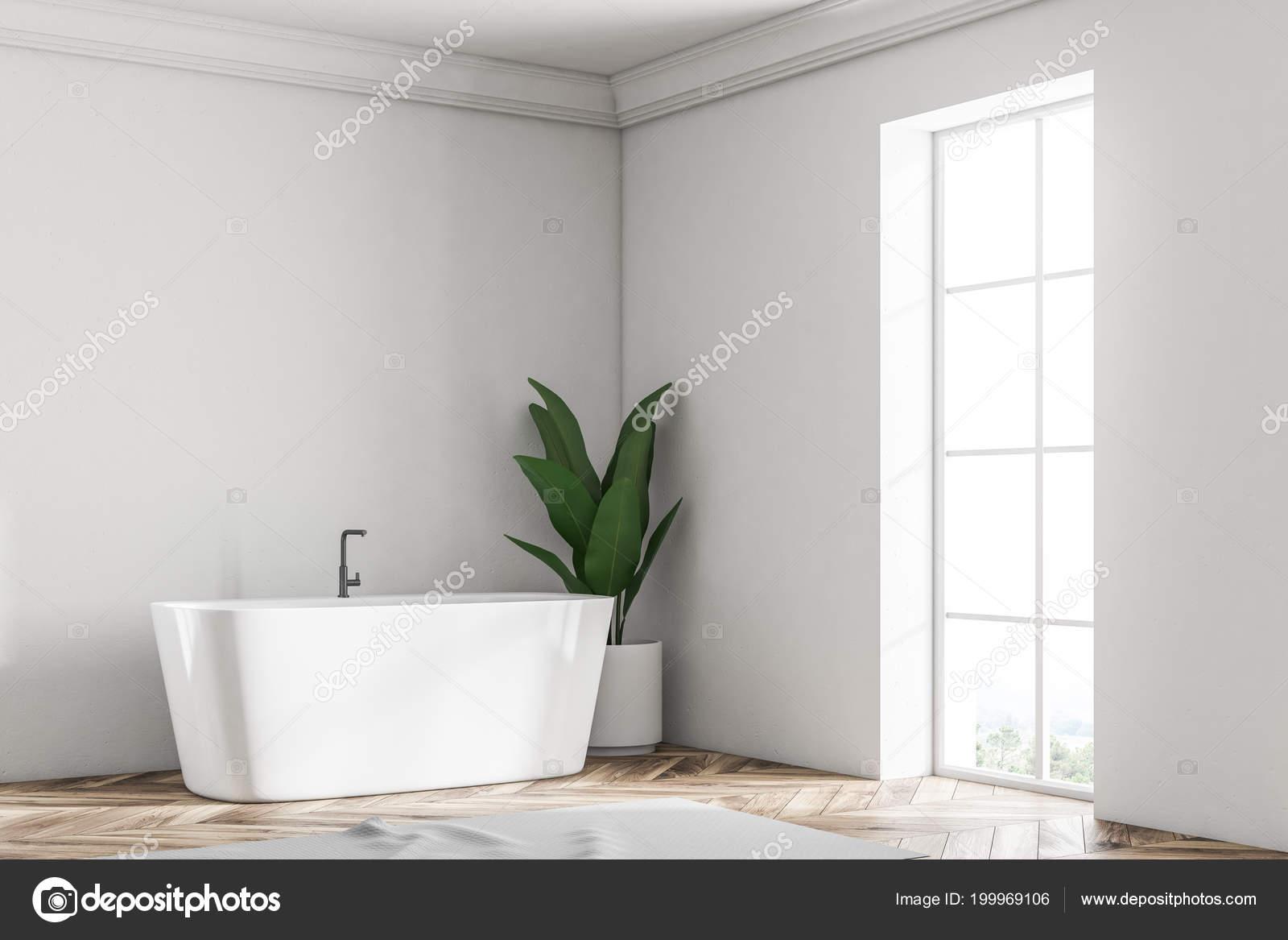 Coin Salle Bains Loft Mur Blanc Avec Plancher Bois Une