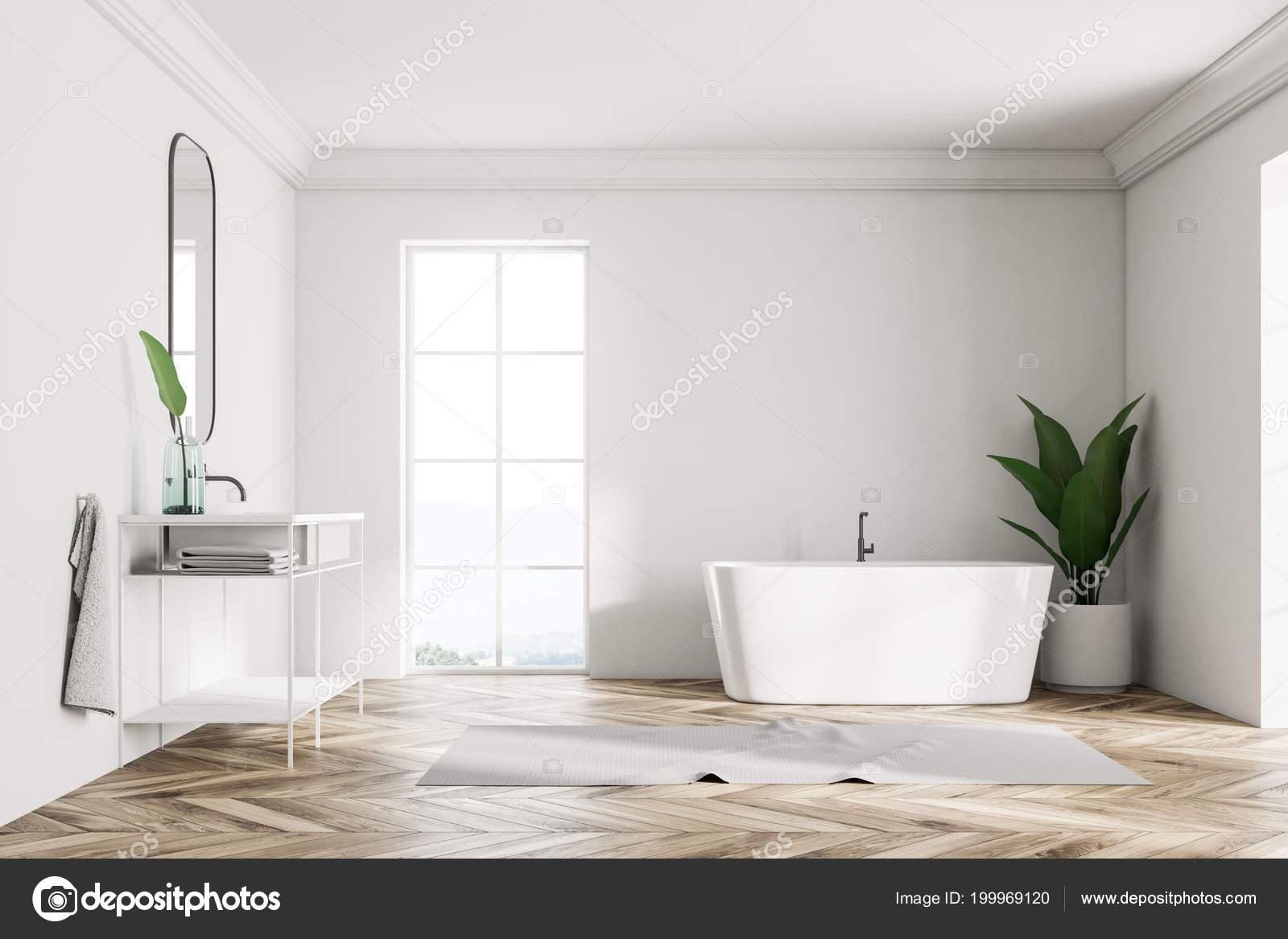 Biała ściana Loft Wnętrz łazienka Drewnianą Podłogą Skośne