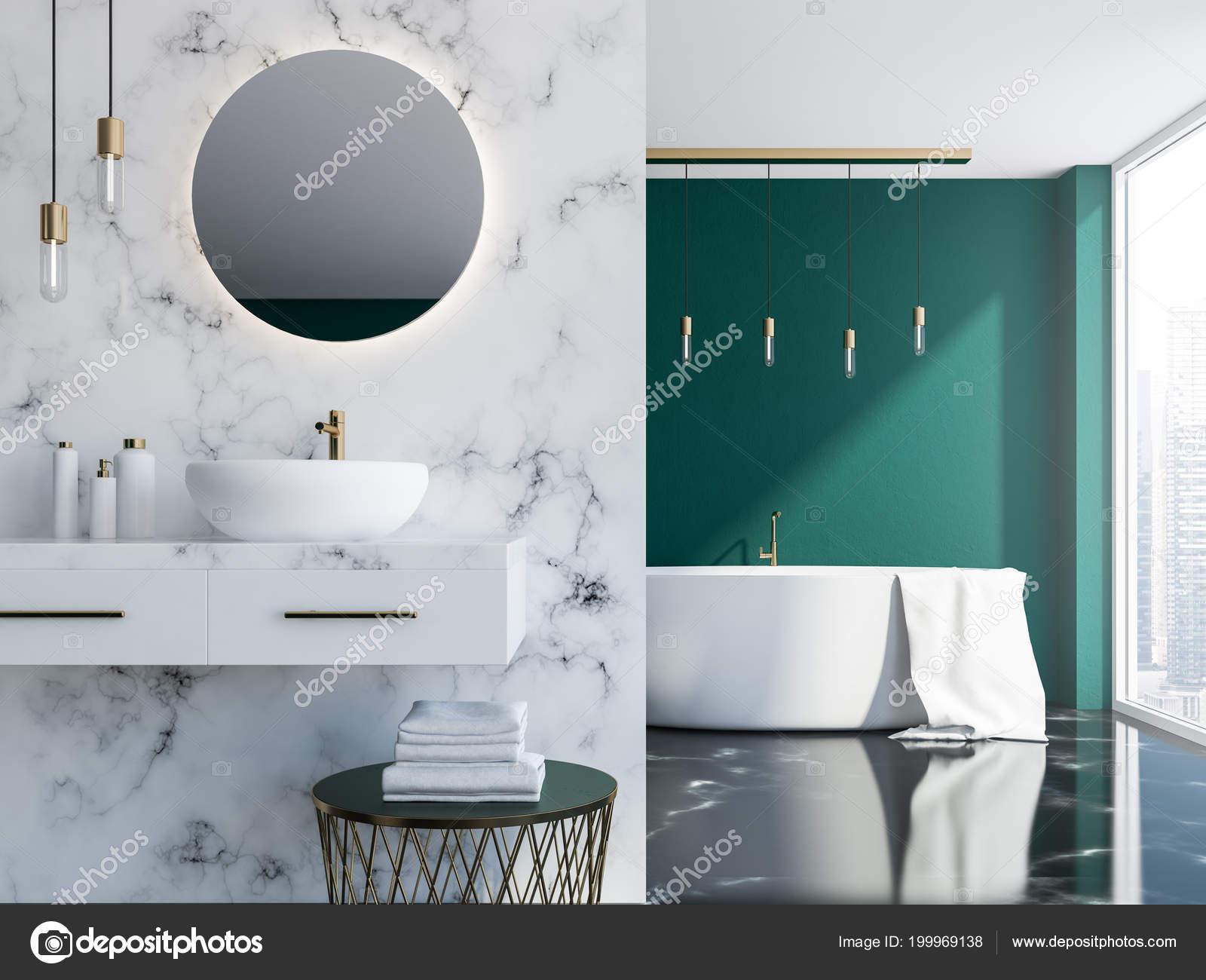 Marbre Blanc Salle Bain Loft Vert Foncé Avec Lavabo Miroir ...