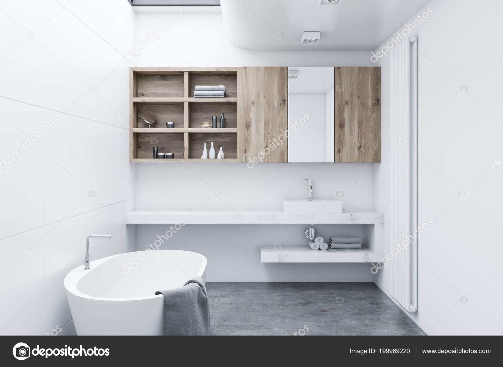 Intérieur Blanc Salle Bains Moderne Avec Armoires Bois Une Baignoire ...
