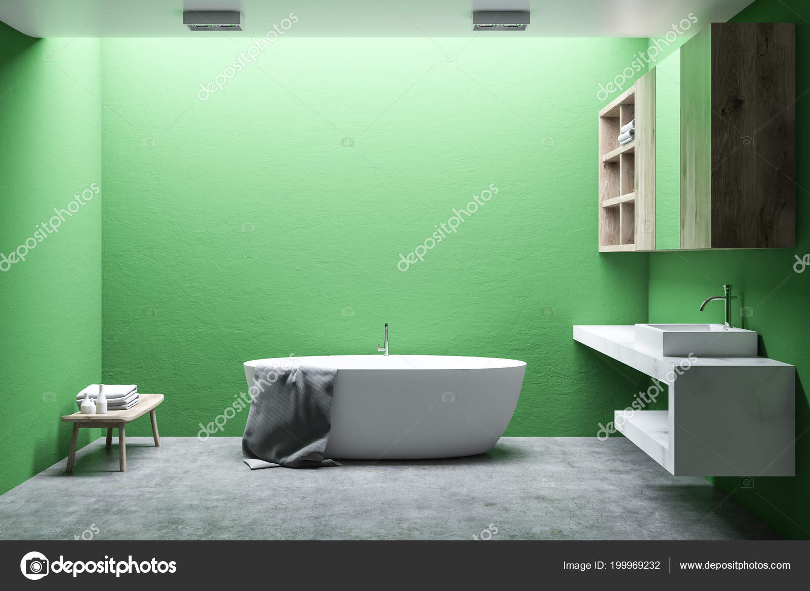 Minimalist Bathroom Interior Light Green Walls Concrete Floor White ...