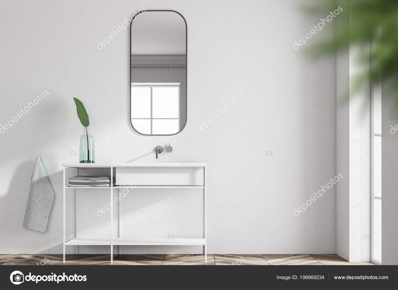 Weiße Badezimmer Waschbecken Stehend Einem Skandinavischen Stil ...