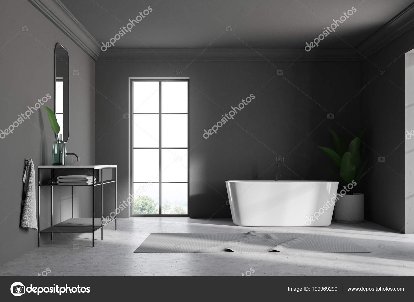 Grijze muur loft badkamer interieur met een betonnen vloer een