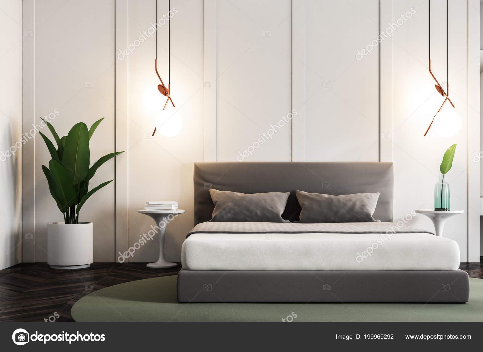 Moderne Slaapkamer Interieur Met Witte Muren Een Houten Vloer Met ...