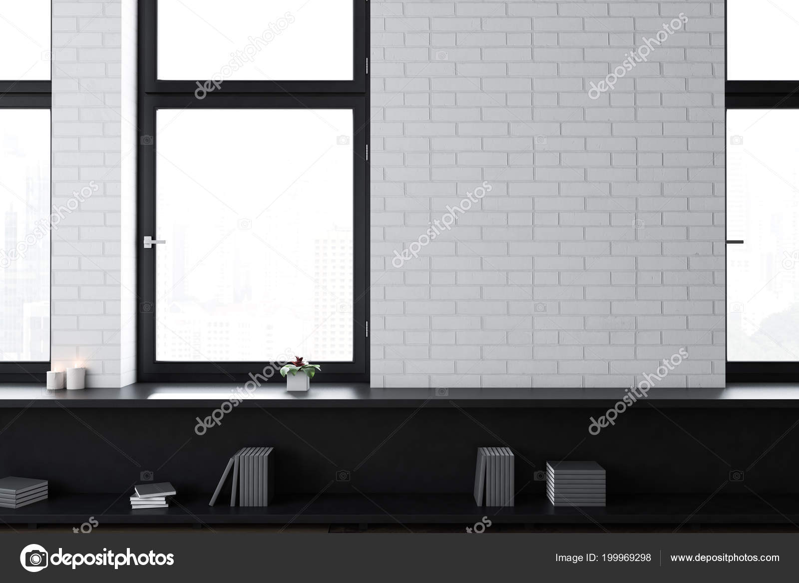 White Brick Empty Office Living Room Interior Loft Windows